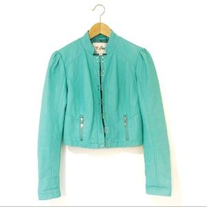 G by GUESS Turquoise Faux-Leather Moto Jacket